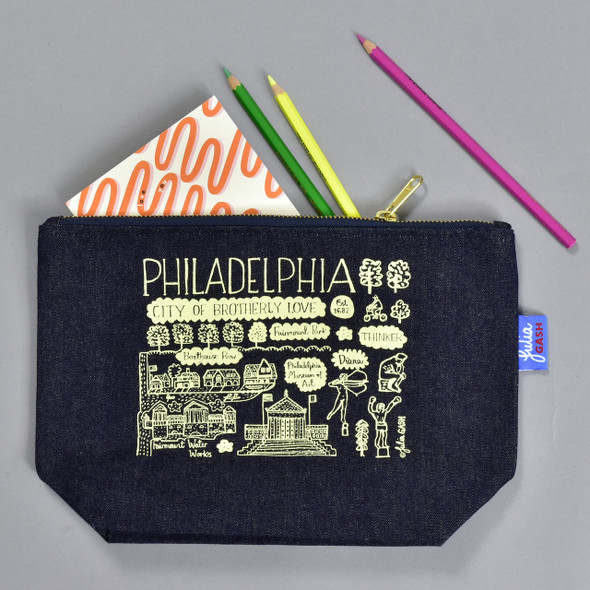 Parkway Denim Zippered Pouch, with art supplies (not included)