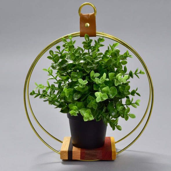 Small Exotic Wood and Brass Plant Stand by Honorable Oak, with plant