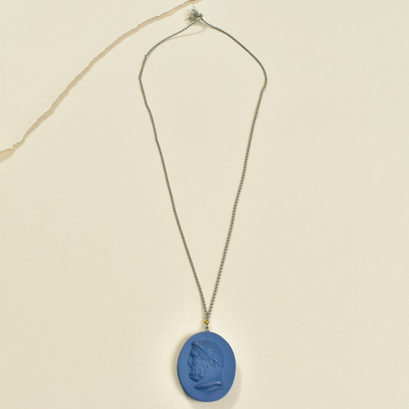 Large Indigo Porcelain Cameo Pendant on Silk Cord by Marcie McGoldrick