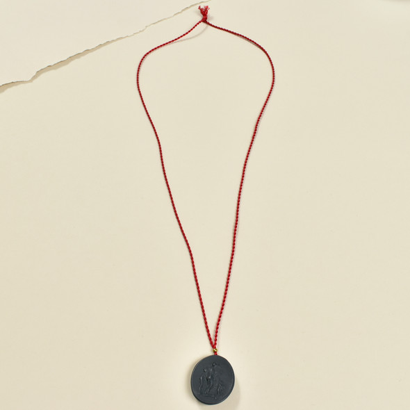 Black Porcelain Cameo Pendant on Silk Cord