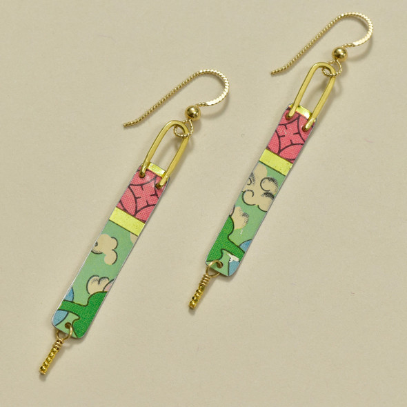 VIntage Tin Skinny Bar Earrings