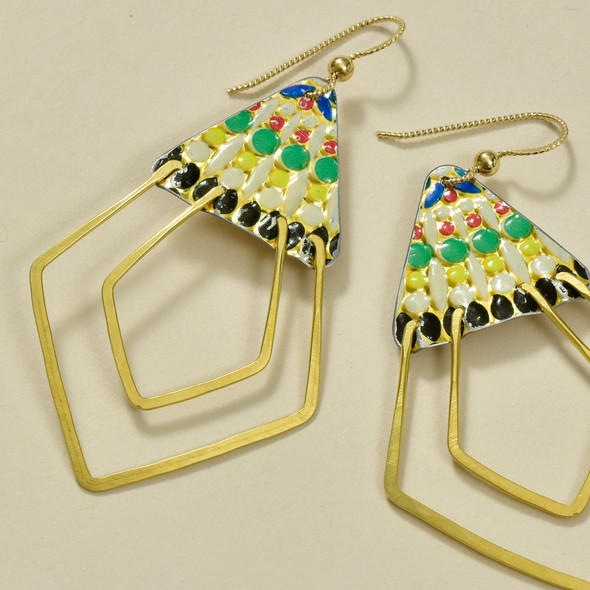 Vintage Tin Deco Ray Earrings, close up