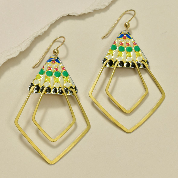 Vintage Tin Deco Ray Earrings