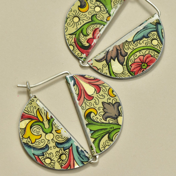 Vintage Tin 2 Sided Secure Latch Earrings, close up