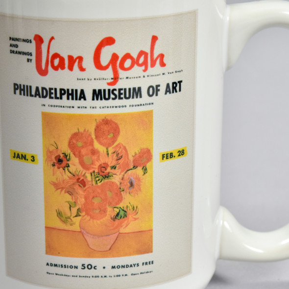 van Gogh 1954 Vintage Exhibition Poster Mug, close up