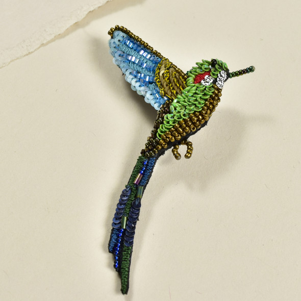 Embroidered & Beaded Tropical Hummingbird Pin