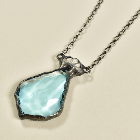 Pale Turquoise Artisan Glass Necklace, close up of pendant