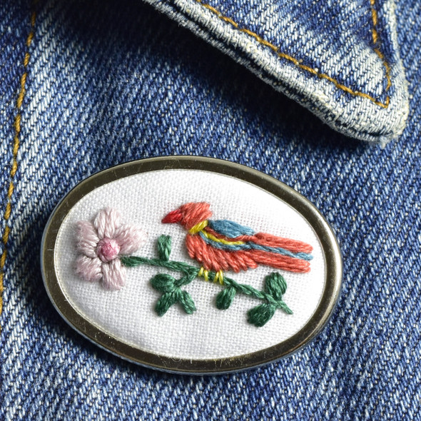 Pin Embroidered Bird & Flower, on clothing