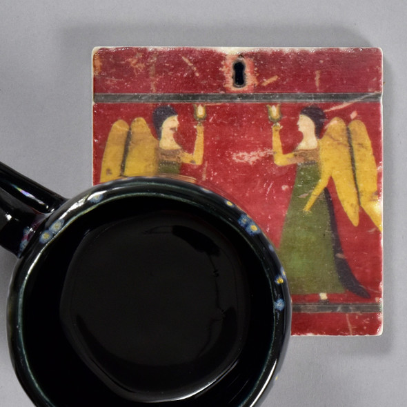 Angels Detail Fraktur Chest of Drawers Tile by The Painted Lily, with mug