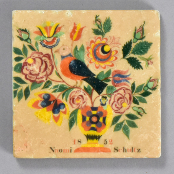 Fraktur Drawing of Vase with Birds and Flowers for Naomi Schultz Tile by The Painted Lily, front