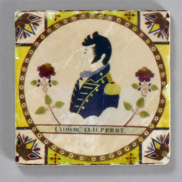 Fraktur Portrait of Oliver Hazard Perry Tile by The Painted Lily