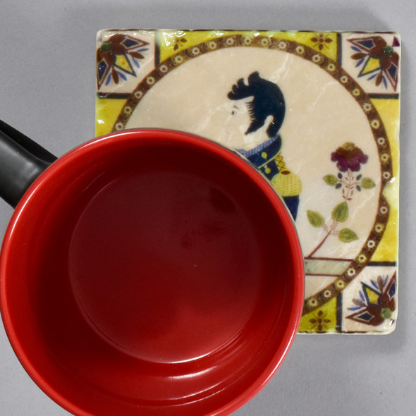 Fraktur Portrait of Oliver Hazard Perry Tile by The Painted Lily, with mug