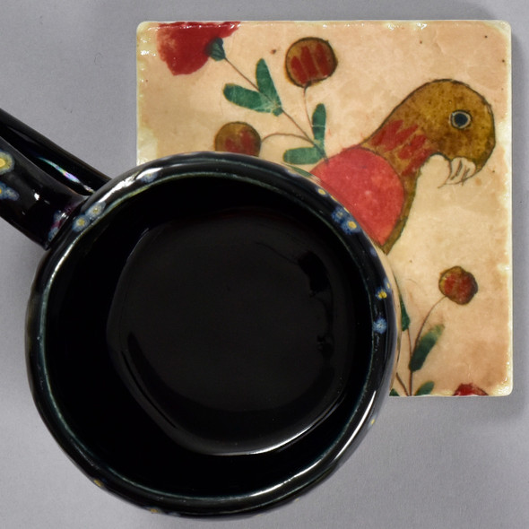 Fraktur Drawing of Parrot with Flowers Tile by The Painted Lily, with mug