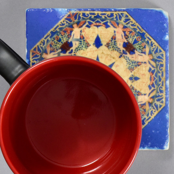 Fraktur Cutwork Valentine Tile by The Painted Lily, with mug