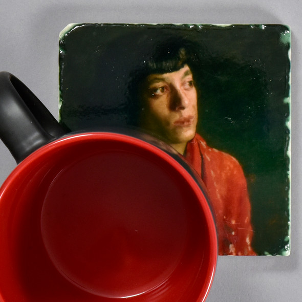 Eakins: The Red Shawl Tile by The Painted Lily, with mug