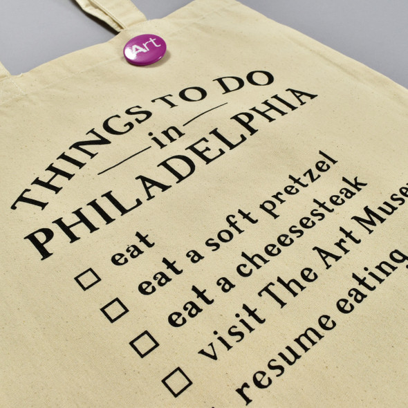 Things To Do in Philadelphia Tote, front, with button, close up