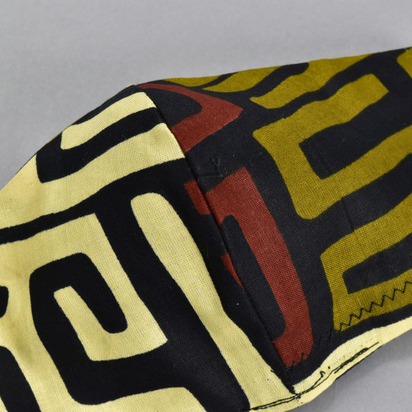 African Wax Print Black Brown White Face Mask by Art & Soul Gallery, close up