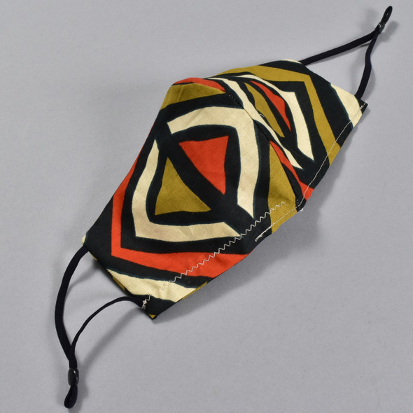 African Wax Print Orange Diamond Face Mask by Art & Soul Gallery
