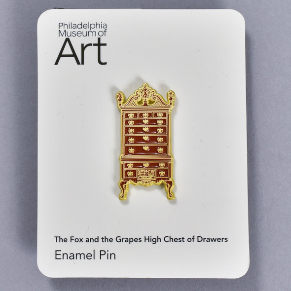 The Fox and the Grapes High Chest of Drawers Enamel Pin, pin on backing card