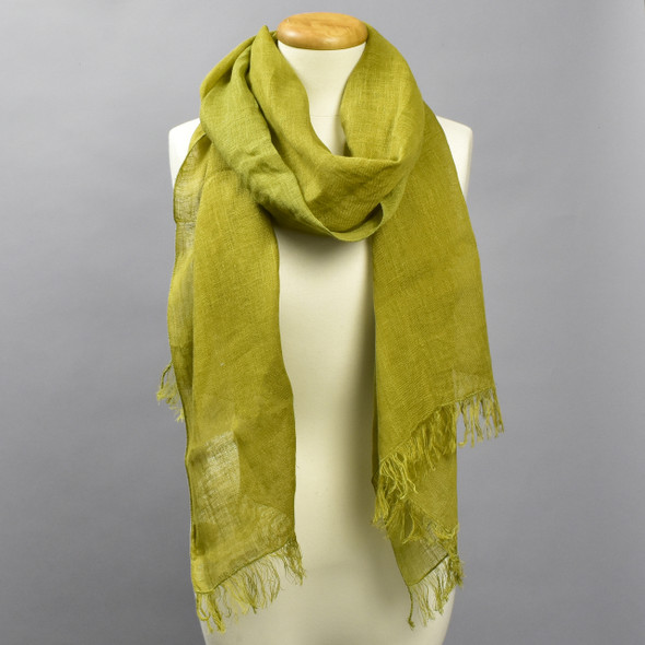 European Linen Scarf in Olive, on mannequin