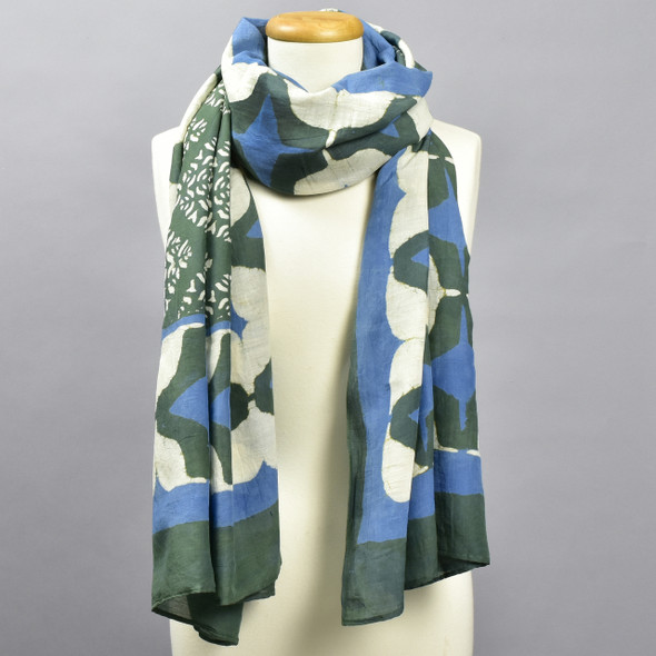 Ethereal Cotton & Silk Block Print Scarf, on mannequin
