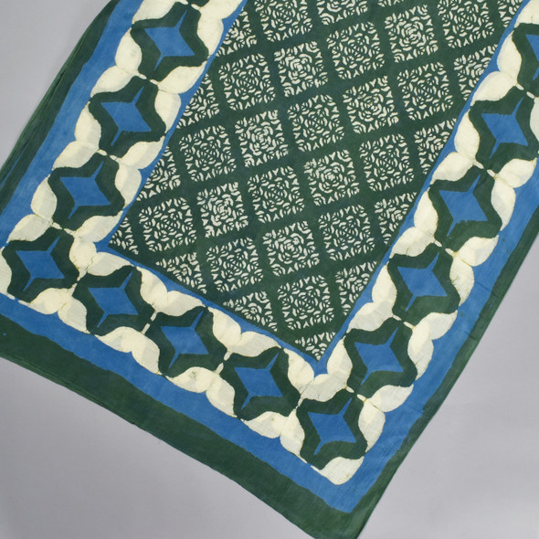 Ethereal Cotton & Silk Block Print Scarf