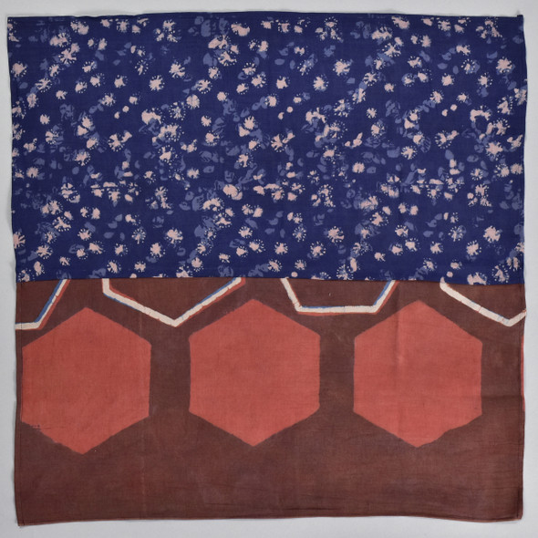 Maroon Meets Indigo Cotton & Silk Block Print Bandana, folded