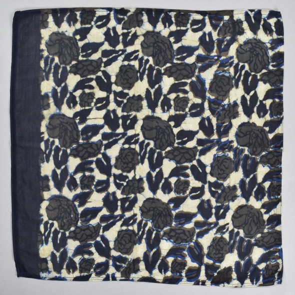 Black Beauty Cotton & Silk Block Print Bandana, folded