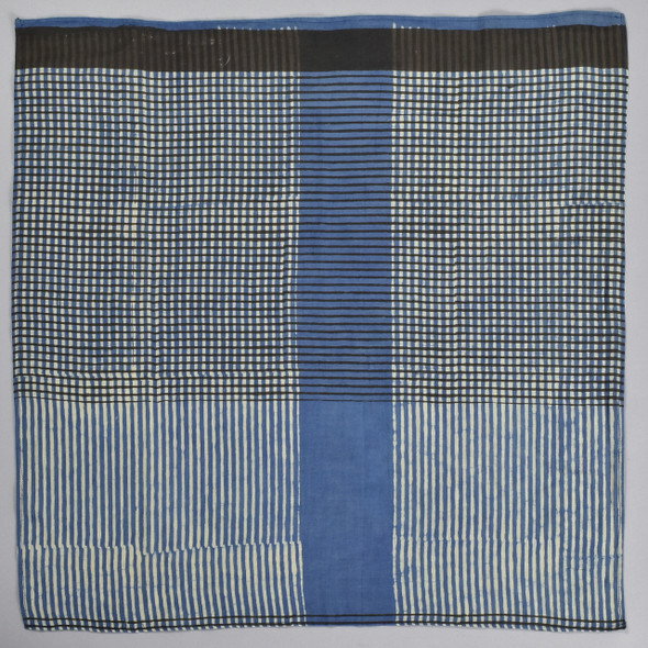 Grids Cotton & Silk Block Print Bandana, folded