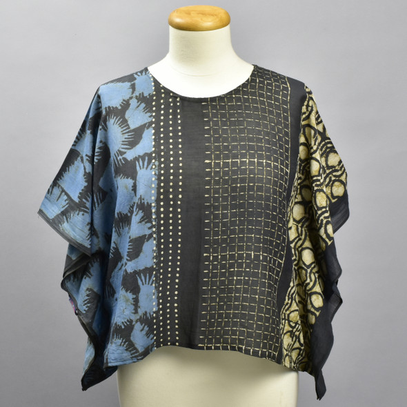 Indigo Cotton & Silk Block Print Top, on mannequin