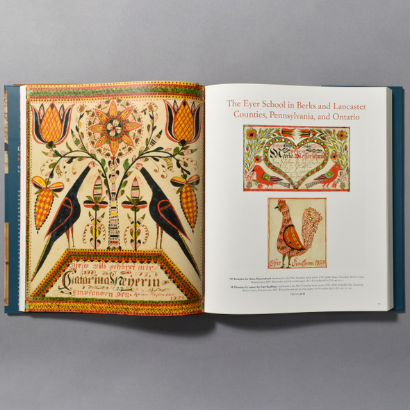 "Interior of the book ""Drawn With Spirit: Pennsylvania German Fraktur"""