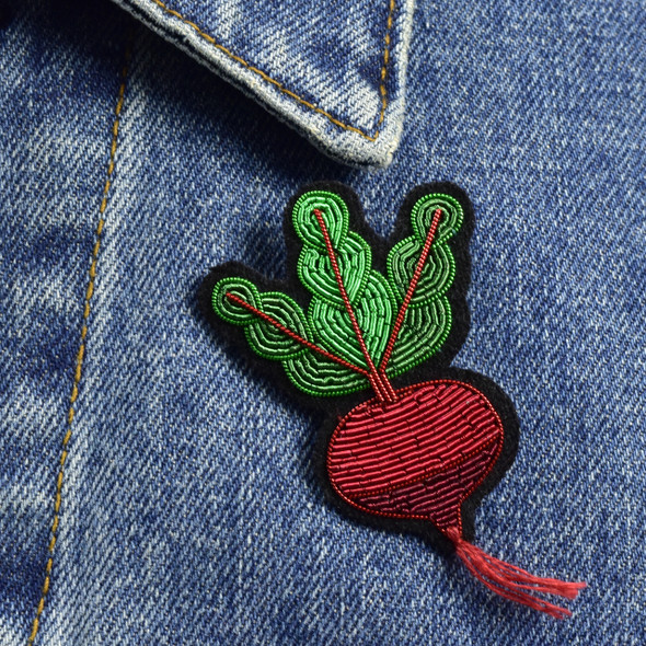 Beet Root Metal Thread Pin, on clothing
