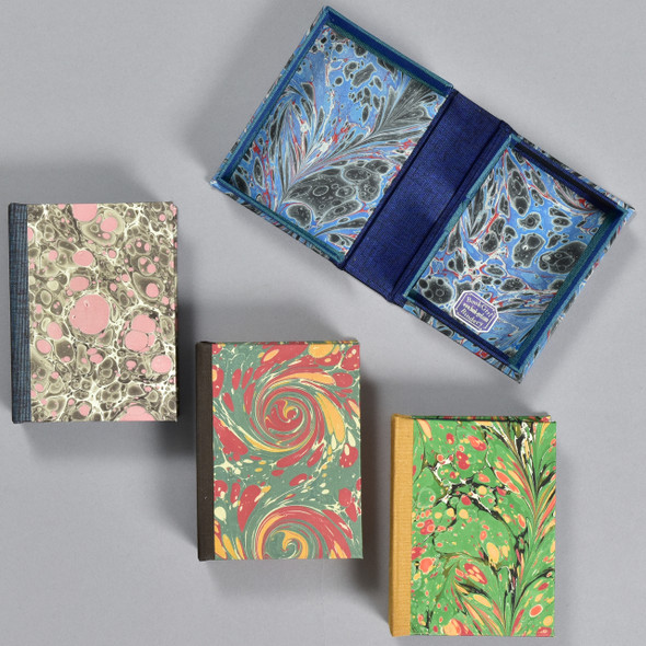 Marbled Playing Card Boxes in 4 colors, one shown opened