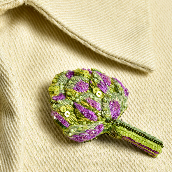 Embroidered & Beaded Artichoke Pin, on jacket