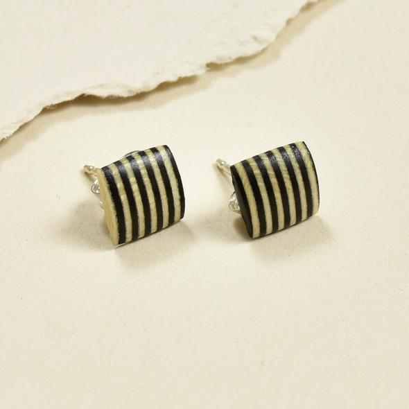 Tiny Rare Wood Earrings, stripe rare wood