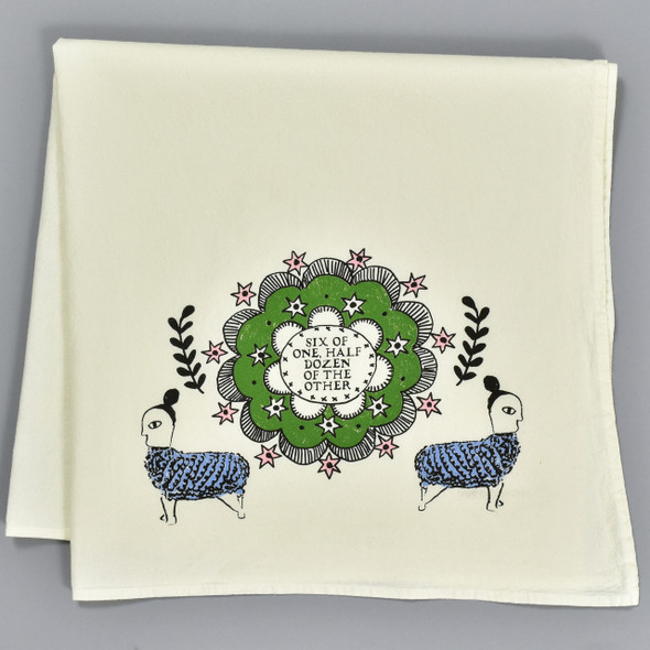Six of One, Half Dozen of the Other Tea Towel by Nottene