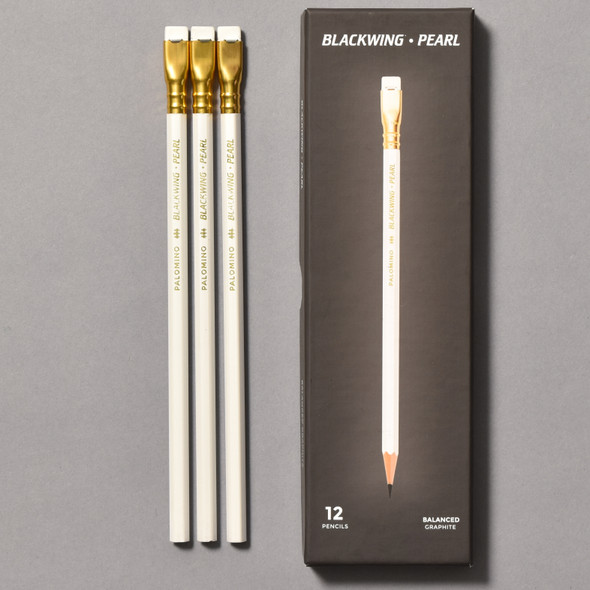 Blackwing Pearl Balanced Graphite Pencils front of package and pencils