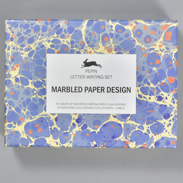Marbled Paper Design Letter Writing Set, front of box