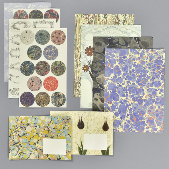 Marbled Paper Design Letter Writing Set, contents