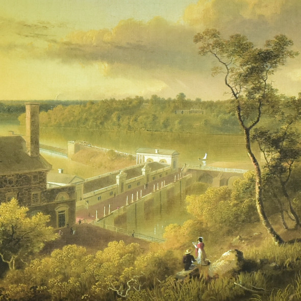 Doughty:  View of the Waterworks, on the Schuylkill Seen from the Top of Fairmount, Philadelphia Archival Poster, detail