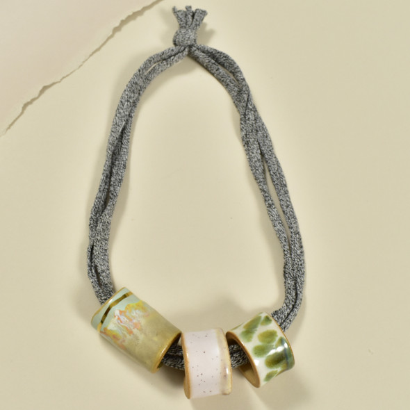 Three Bead Luster Necklace by Curious Clay, Olive
