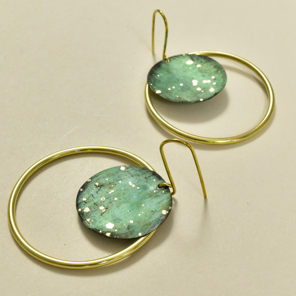Brass Hand Painted Forest Hoop Earrings, close up