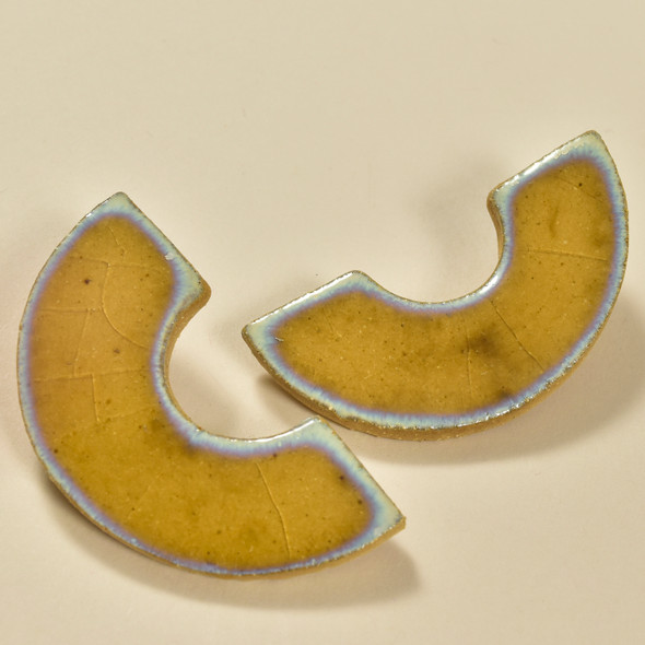 Crackle Glazed C Shaped Earrings by Curious Clay