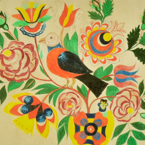 Drawing of a Vase with Birds and Flowers for Naomi Schultz Fraktur Pennsylvania German Archival Poster, detail
