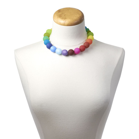 Large Bright Multicolor Beaded Necklace on neck stand