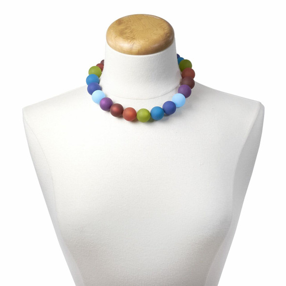 Multicolor Bead Necklace on neck stand