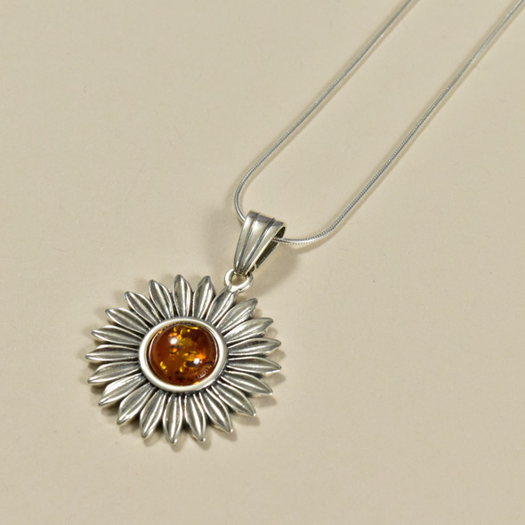 Amber Sunflower Necklace, close up