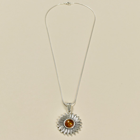 Amber Sunflower Necklace