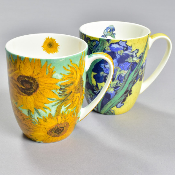 Van Gogh's Flowers Pair Of Mugs: Irises and Sunflowers