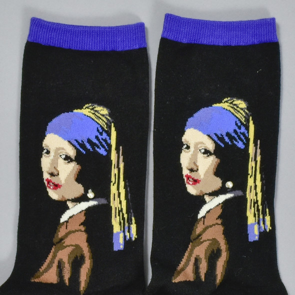 Vermeer Girl With The Pearl Earring Women's Socks, close up